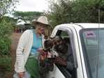 Mayling, Monty and driver at Kenyan elephant orphanage