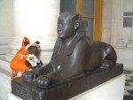 """G - Paris: They had an Egyptian exhibit in """"Le Louvre"""" and I met this nice sphinx.  We had a good chat!"""