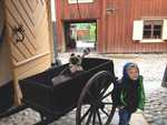 Here is Monty in a wheelbarrow used to carry coal. This is in Skanse, an outdoor museum on Stockholm, with very old buildings and crafts, much like the Burnaby Heritage Museum.